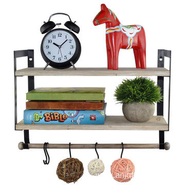 Wall Mount 2 Tier Floating Shelves with Metal Bracket, Rustic Torched Wood with Removable Towel Rod and S Hooks to Storage Organ